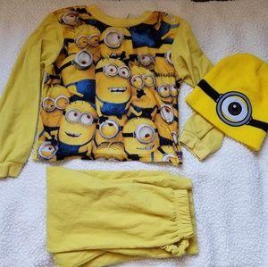 Other - Minions Pajama Set/ Beanie Kids 6/7